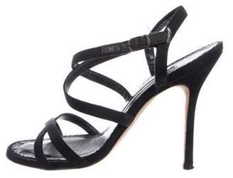 Manolo Blahnik Canvas Crossover Sandals