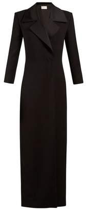 The Row Addy Satin Lapel Wool Blend Coat - Womens - Black