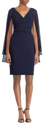 Lauren Ralph Lauren Georgette-Sleeve Jersey Knee-Length Dress