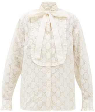 Gucci Gg Broderie Anglaise Cotton Blend Shirt - Womens - White Gold