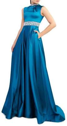 Mac Duggal Ieena for Embellished High-Neck Sleeveless Satin Gown with Pockets