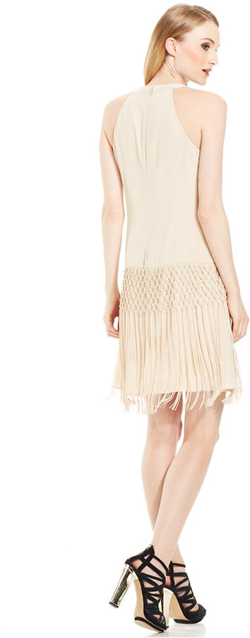Vince Camuto Crochet Fringe Drop-Waist Dress