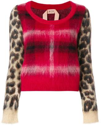 No.21 checked leopard printed sweater
