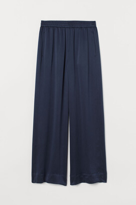 H&M Wide-leg Silk Pants - Blue