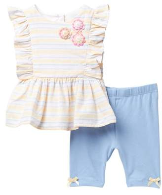 Pippa & Julie Striped Peplum Top & Shorts Set (Baby Girls)