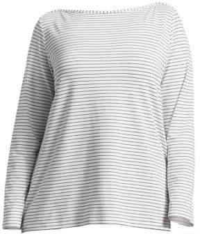 Marina Rinaldi Marina Rinaldi, Plus Size Striped Jersey Long-Sleeve Shirt