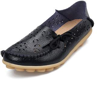 AIRIKE Women's Soft Genuine Leather Loafers Casual Moccasin Driving Shoes Flat Slip-On Slippers Big Sizes