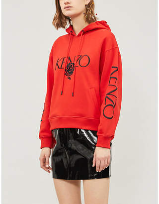 Kenzo Embroidered logo and rose cotton-jersey hoody