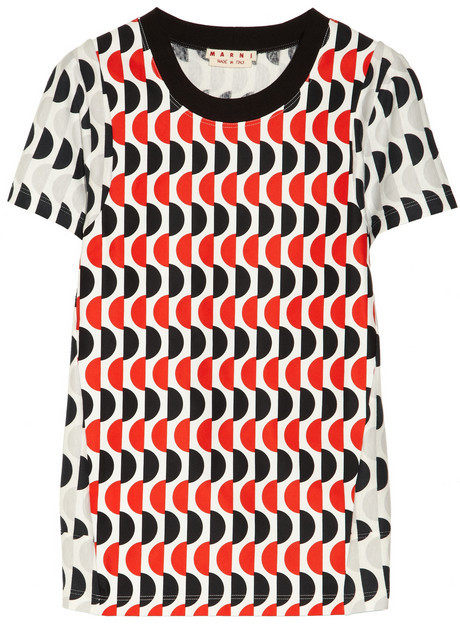 Marni Printed cotton-jersey and cotton-canvas T-shirt