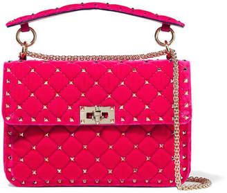 Valentino Garavani The Rockstud Spike Medium Quilted Velvet Shoulder Bag - Pink