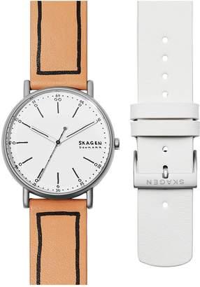 Skagen Signature Leather Strap Watch Set, 38mm