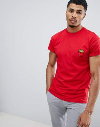 New Look t-shirt with fries embroidery in red