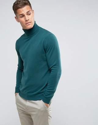 Benetton 100% Merino Roll Neck Sweater In Green