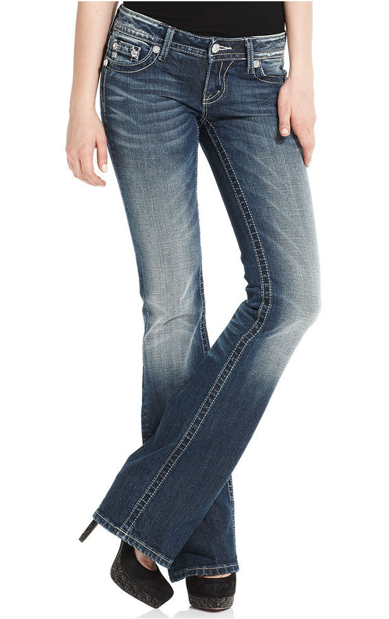Miss Me Jeans, Dark-Wash Rose Bootcut