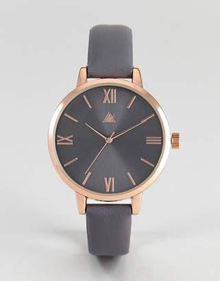 Asos Design Charcoal And Rose Gold Watch