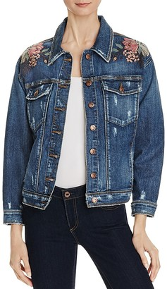 Joe's Jeans Bella Floral Embroidered Denim Jacket $278 thestylecure.com