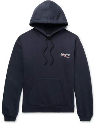 Balenciaga Printed Fleece-Back Cotton-Blend Jersey Hoodie