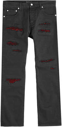 Alexander McQueen Distressed Jeans with Velvet