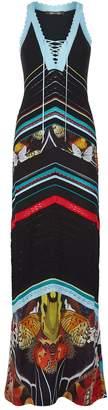 Roberto Cavalli Striped Crochet Maxi Dress