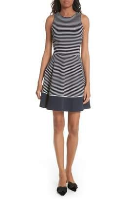 Kate Spade stripe ponte fit & flare dress