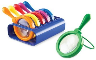 Learning Resources Primary Science Jumbo Magnifiers with Stand (Set of 6)