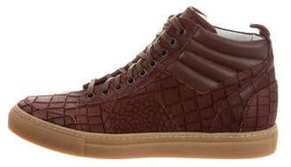 Del Toro Embossed Leather High-Top Sneakers w/ Tags