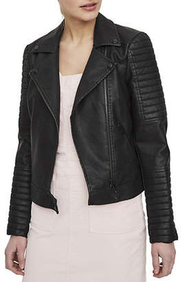 Noisy May Quilted Long-Sleeve Leather Jacket