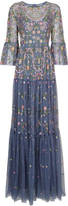 Needle & Thread Slate Blue Dragonfly Garden Maxi Dress $505 thestylecure.com
