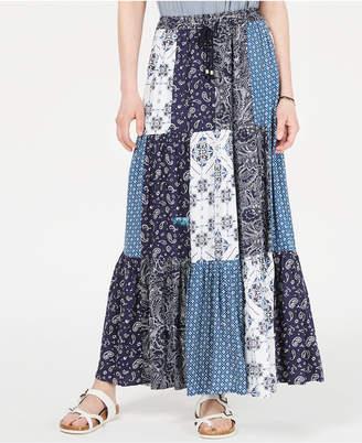 Style&Co. Style & Co Bandana Mixed-Print Patchwork Maxi Skirt