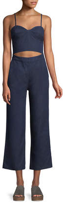 3x1 Peek-a-Boo Cutout-Waist Flared Crop Denim Jumpsuit