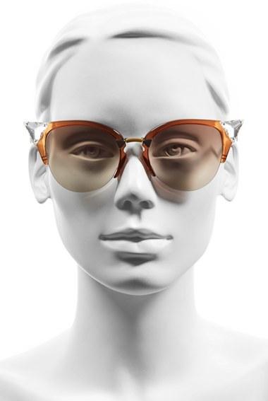 Women's Fendi Crystal 52Mm Tipped Cat Eye Sunglasses - Havana Gold Vio/ G5 3