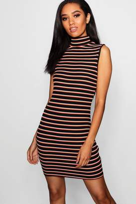boohoo Petite Cut Out Back High Neck Sleeveless Bodycon Dress