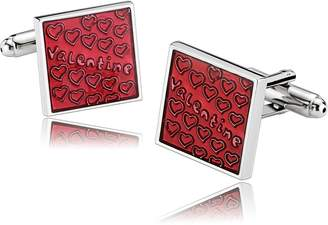 MoAndy Stainless Steel Cuff Links for Mens Square Engraved Heart and Valentine