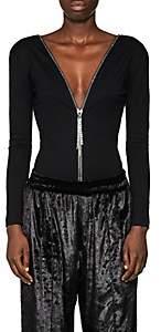 Area Women's Francesca Crystal-Embellished Cotton Bodysuit - Black