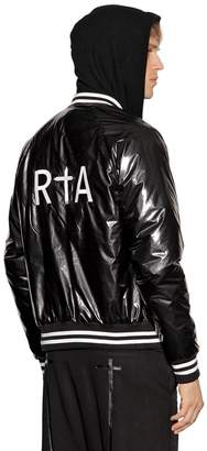 RtA Logo Embroidered Shiny Bomber Jacket