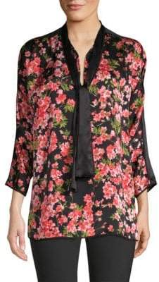 Escada Niana Floral-Print Silk Tie-Neck Blouse