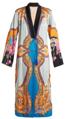 Etro Jasper Paisley And Floral Print Crepe Coat - Womens - Blue Multi