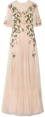 Marchesa Embellished Tulle Gown - Pastel pink