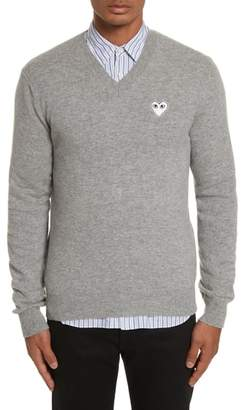Comme des Garcons White Heart Wool V-Neck Sweater