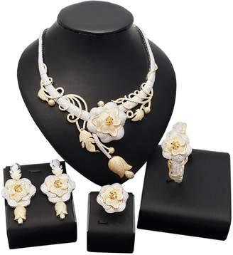 Yulaili American Diamond Jewelry Set Earrings Costume Necklace Rings Saudi Ethiopian Women Bride Wedding Girls Nigerian Zircon Dubai 18k Gold Plated Filled Fashion African Indian Cubic Zirconia Bridal