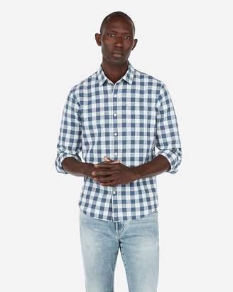 cf1ea955acbb Express Slim Check Linen-Blend Button-Up Shirt
