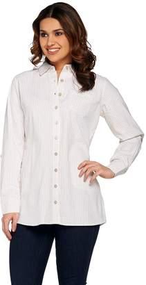 Denim & Co. Regular Seersucker Button Front Big Shirt