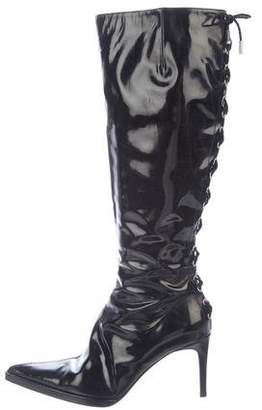 Gianni Versace Patent Leather Knee-High Boots
