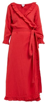 Jagger Rhode Resort Ruffled Cotton Gauze Wrap Dress - Womens - Red