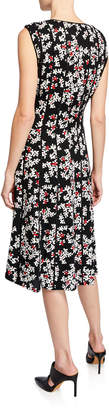 Lafayette 148 New York Marley Floral-Print Sleeveless Midi Dress with Pintucking