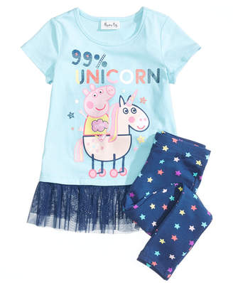 Peppa Pig Nickelodeon's® 2-Pc. Unicorn Top & Leggings Set, Little Girls