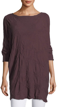 Allen Allen 3/4-Sleeve Crinkle-Knit Top $55 thestylecure.com