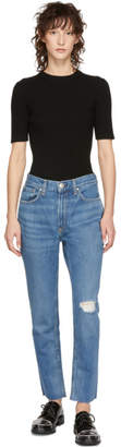 Rag & Bone Blue High-Rise Ankle Skinny Jeans