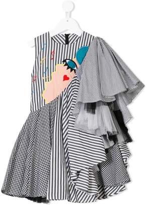 Raspberry Plum singer asymmetric draped dress
