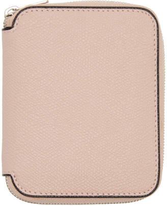 Valextra Pink 6CC Zip Around Wallet